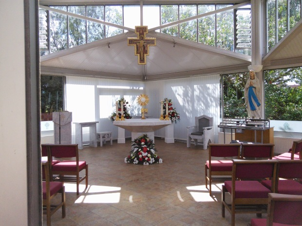 The Blessed Sacrament in the glass chapel